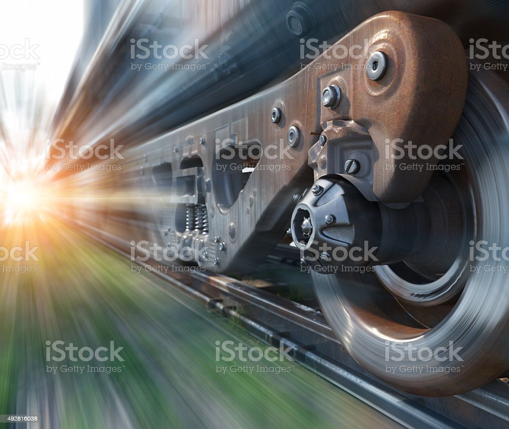 Industrial rail train wheels closeup technology perspective conceptual background stock photo