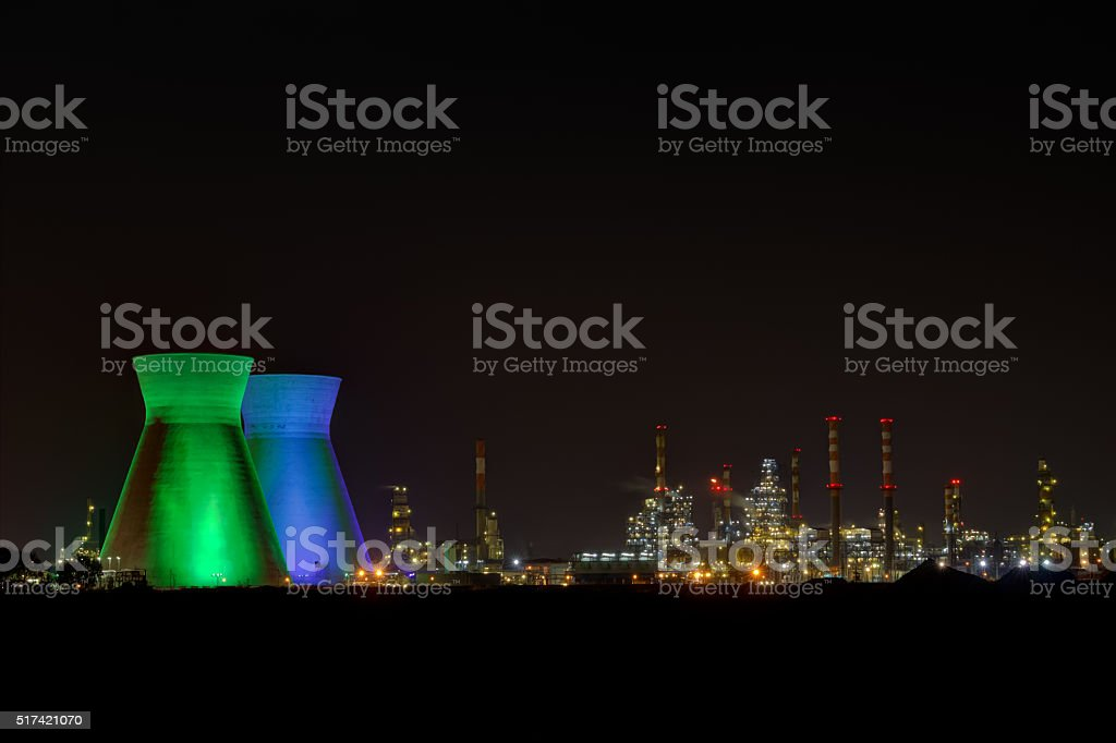 Industrial Refineries at night, Haifa Israel stock photo