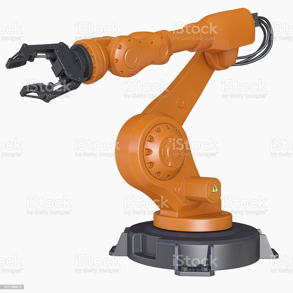 Industrial Robot Arm isolated on a white background stock photo