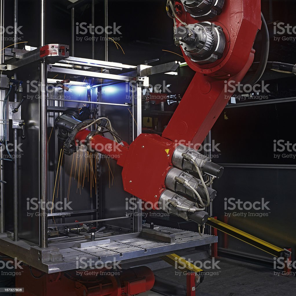 Industrial robot at work royalty-free stock photo