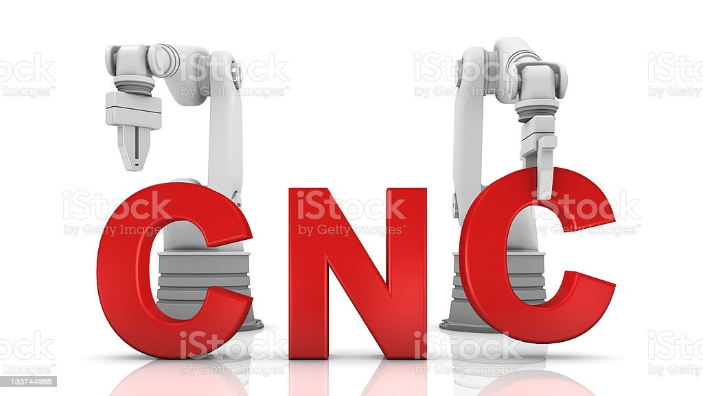 Industrial robotic arms building CNC word stock photo