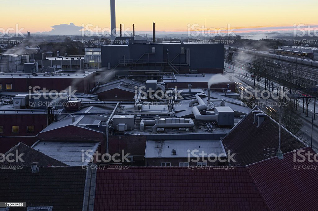 Industrial roofs early in the morning royalty-free stock photo