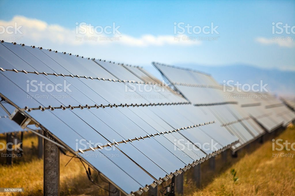 Industrial Scale Photovoltaic Solar Panel Array In Bakersfield, California royalty-free stock photo