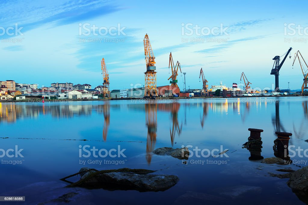 Industrial seaport of antander stock photo