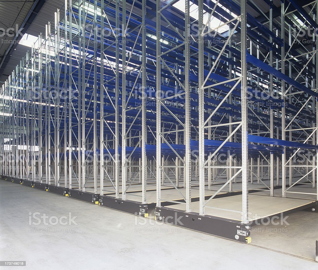 Industrial shelves hall royalty-free stock photo