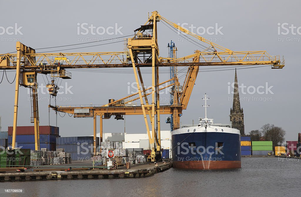 industrial ship in docks stock photo