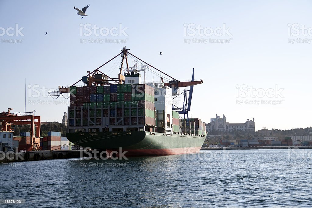 Industrial ship in the harbor royalty-free stock photo