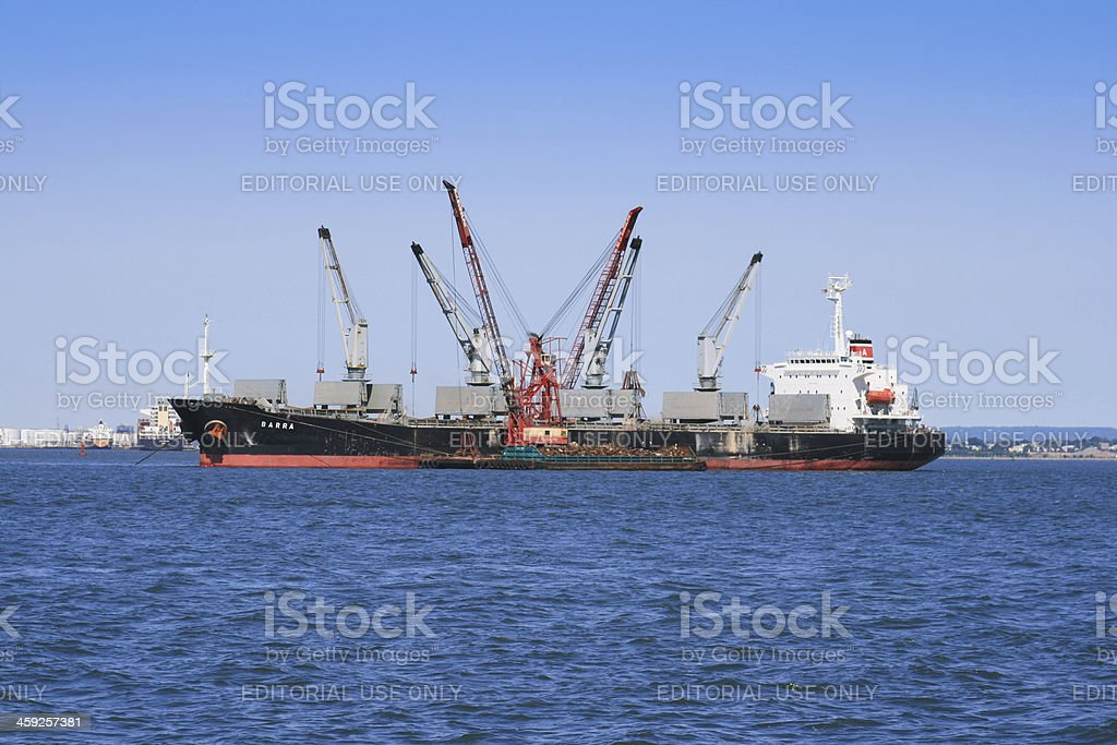 Industrial Ship moored in New York Harbor. royalty-free stock photo