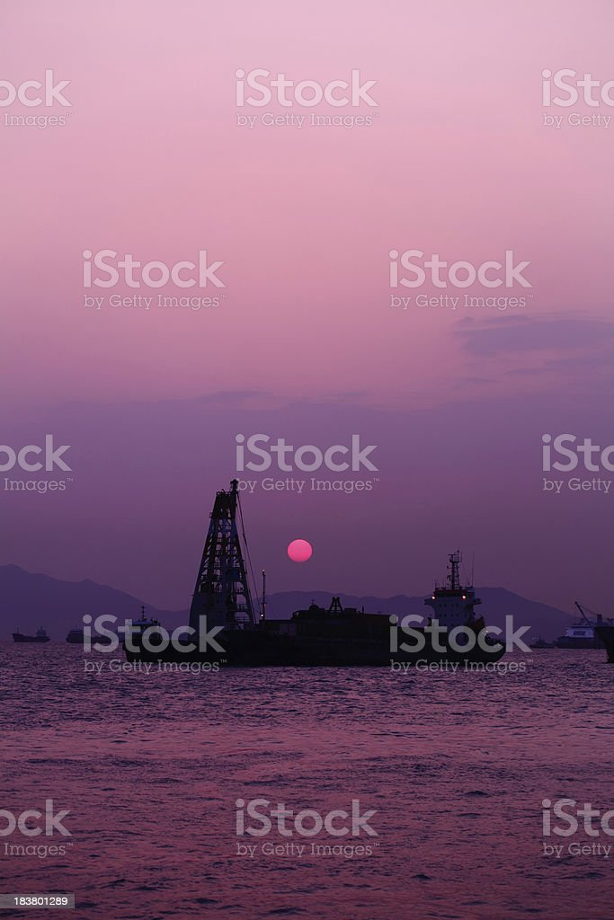 Industrial Ship Sunset royalty-free stock photo