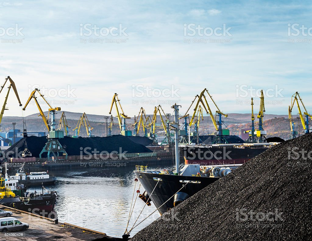 Industrial ships in the sea commercial port. stock photo