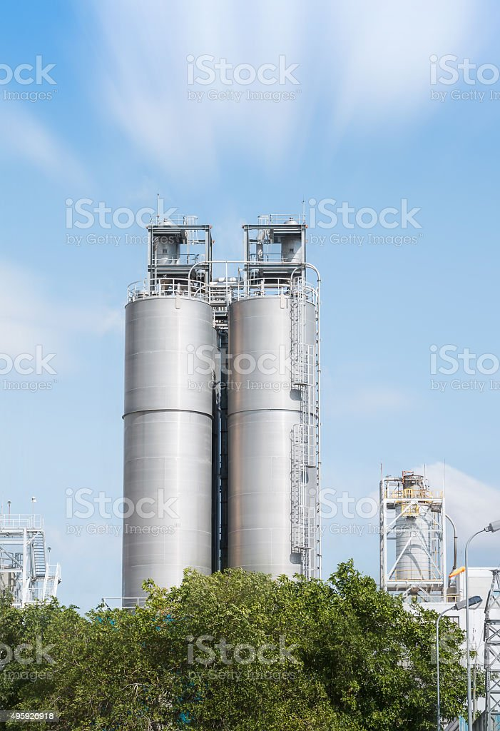 Industrial silos in the chemical industry stock photo