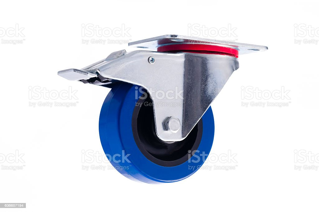 Industrial single steel caster with lock isolated on white backg stock photo