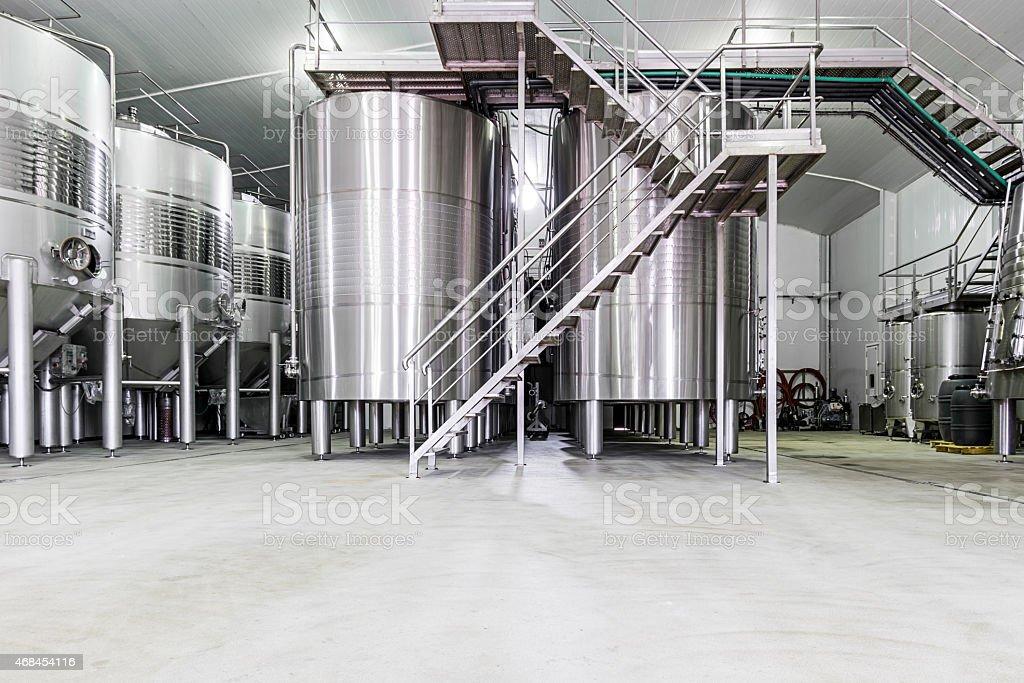 Industrial stainless steel wine cellar vats stock photo