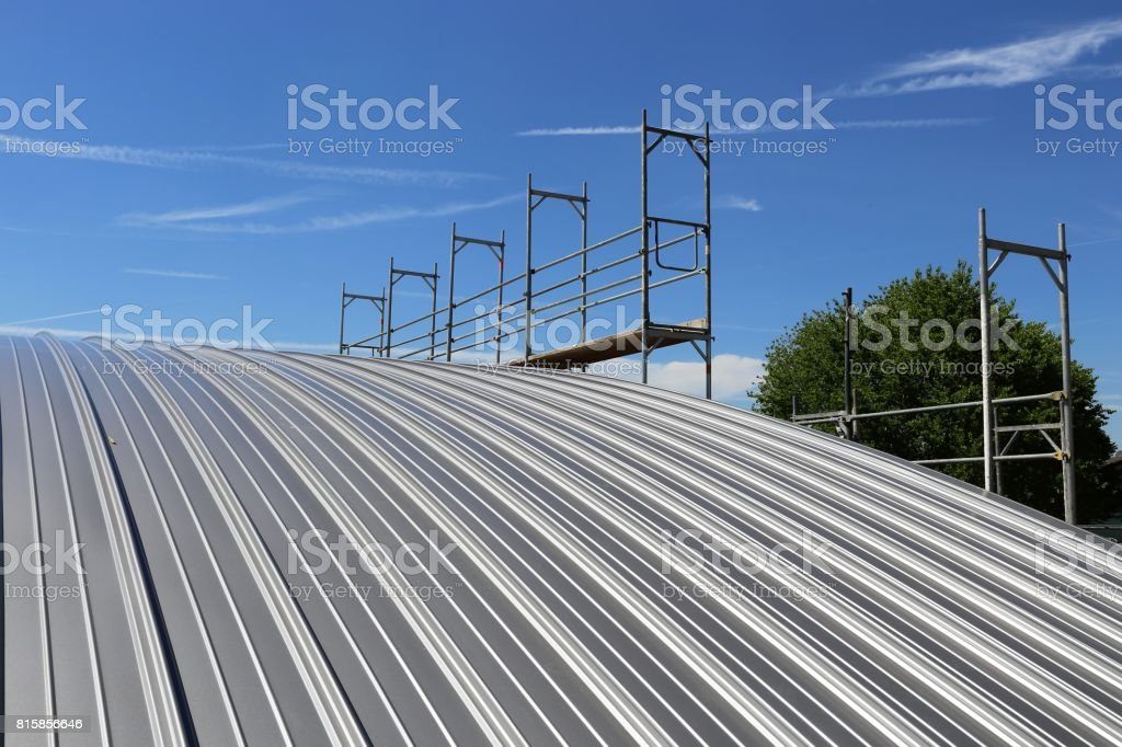Industrial standing seam roof stock photo