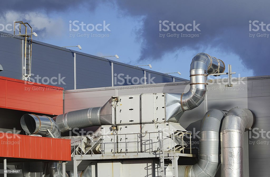 Industrial steel air conditioning and ventilation systems stock photo