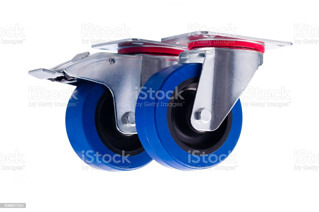 Industrial steel casters alined isolated on white background stock photo