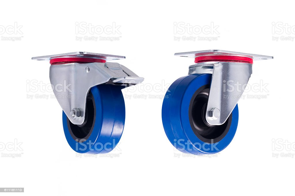 Industrial steel casters seperated isolated on white background stock photo