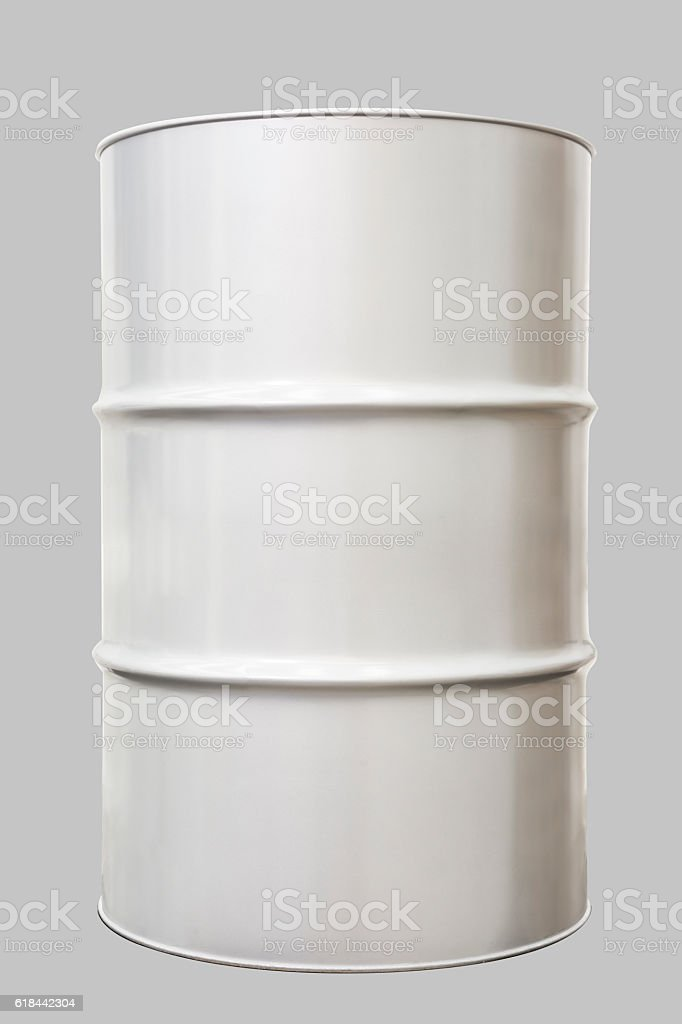 Industrial steel drum with clipping path stock photo