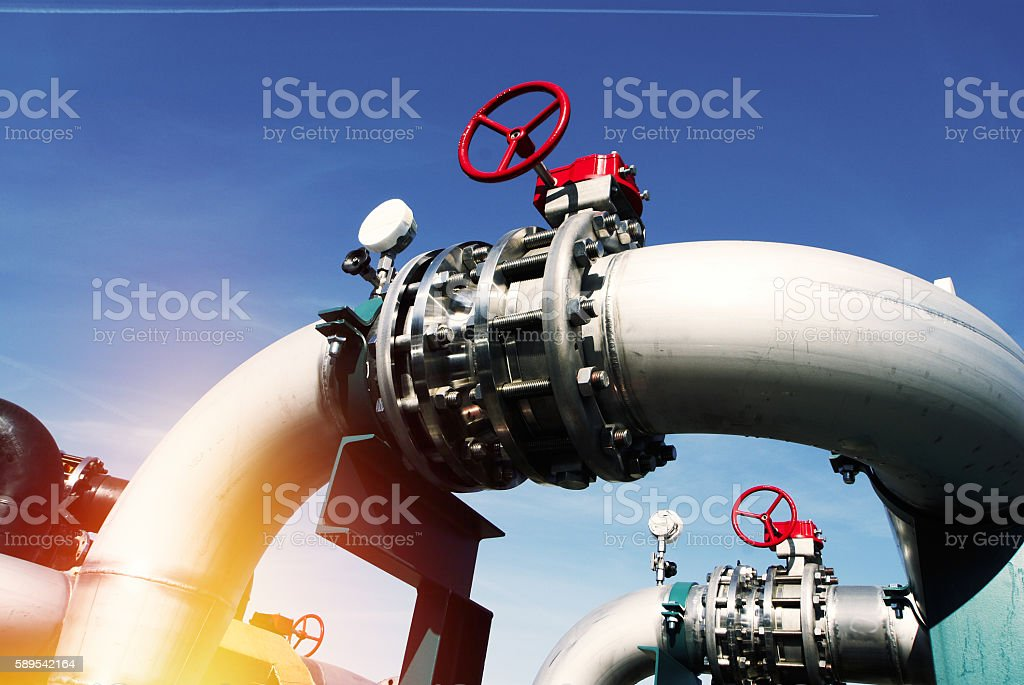 Industrial Steel  pipelines and valves stock photo