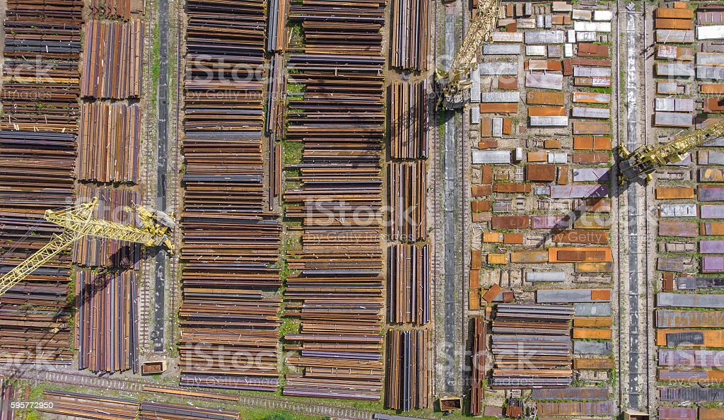 Industrial storage place, view from above. Steel elements. stock photo
