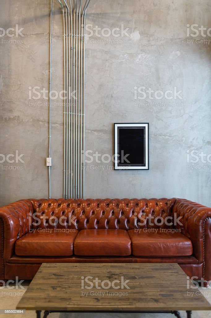 Industrial style living room stock photo