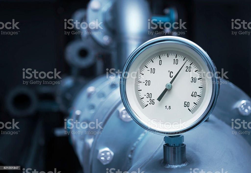 Industrial temperature meter stock photo