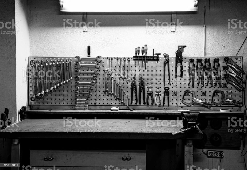 Industrial tool rack stock photo