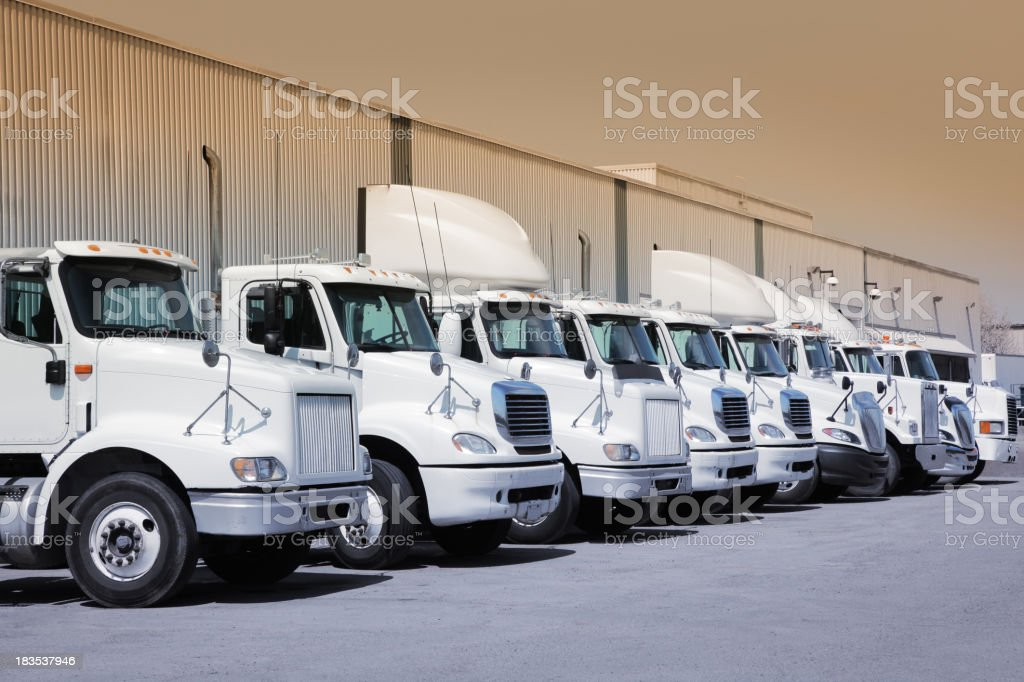 Industrial truck fleet stock photo