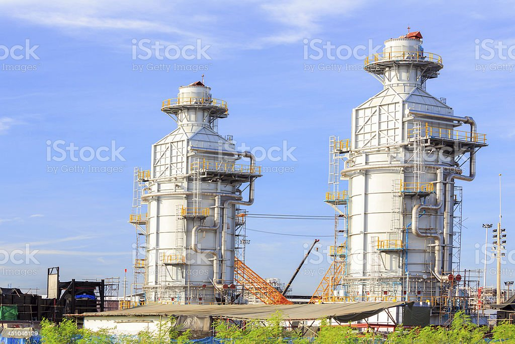 Industrial Tube factory building stock photo