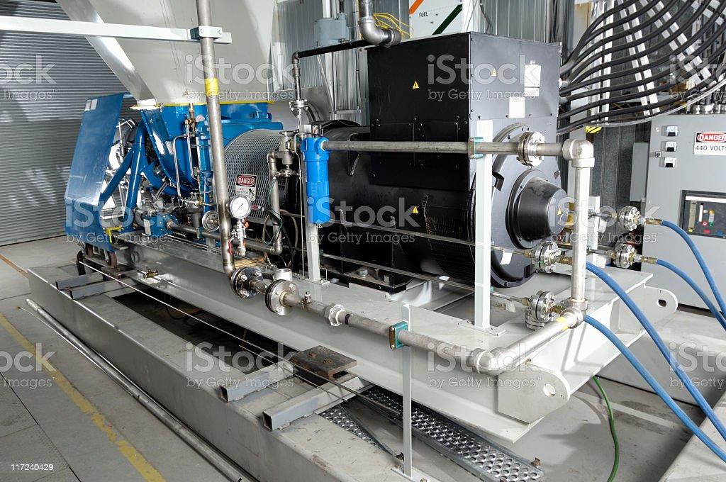 Industrial turbine generator set stock photo