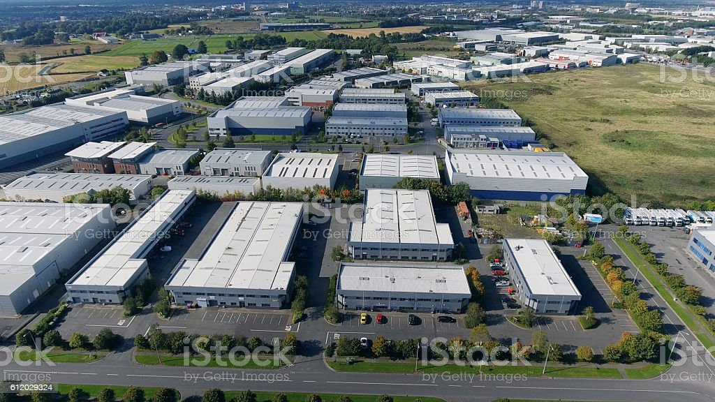 Industrial units from air stock photo