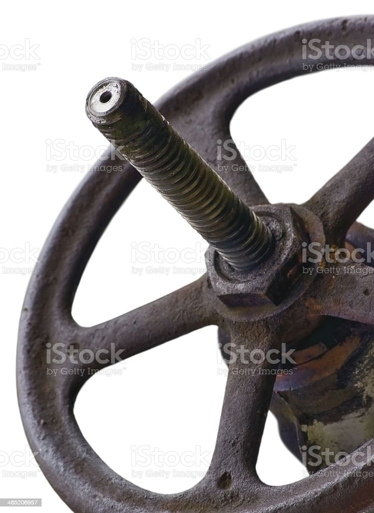 Industrial Valve Wheel And Stem Weathered Grunge Latch Closeup Isolated royalty-free stock photo