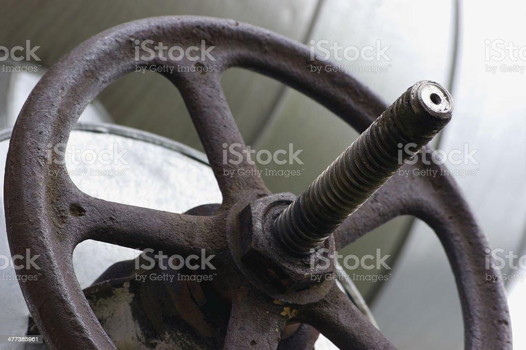 Industrial Valve Wheel Stem, Old Aged Weathered Grunge Large Detailed royalty-free stock photo
