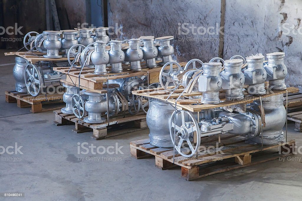 Industrial valves ready for dispatch stock photo