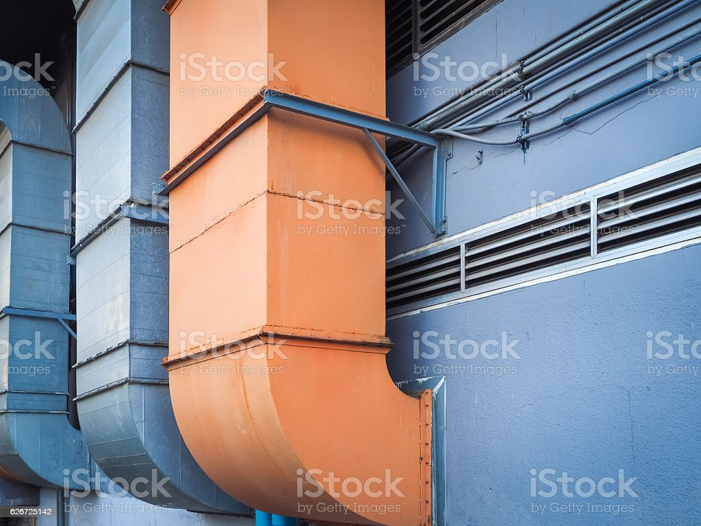 Industrial ventilation and air conditioning pipe stock photo