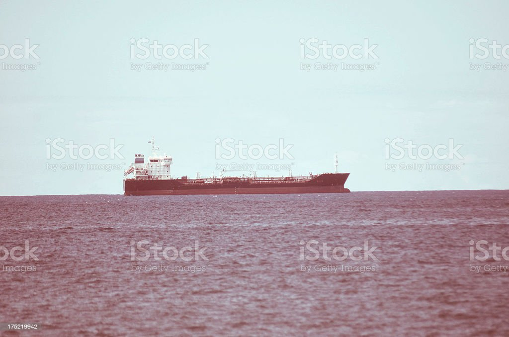 industrial vessel transporting oil stock photo