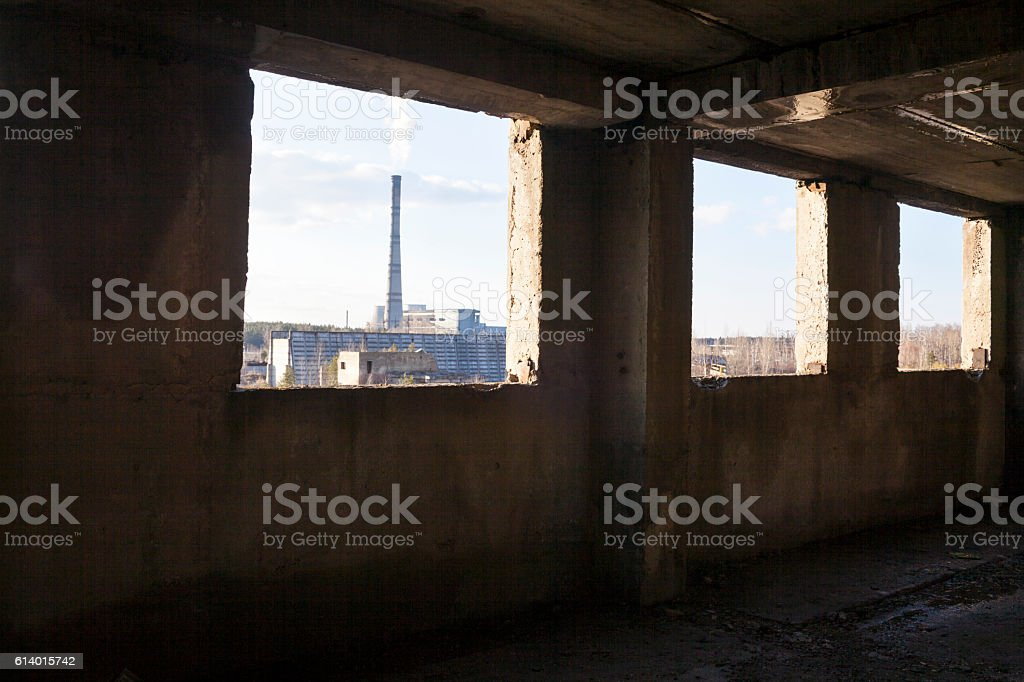 Industrial view from the abandoned building. stock photo