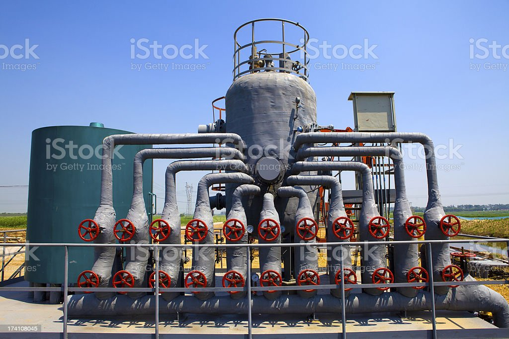 Industrial view of oil petrochemical refinery tanks royalty-free stock photo
