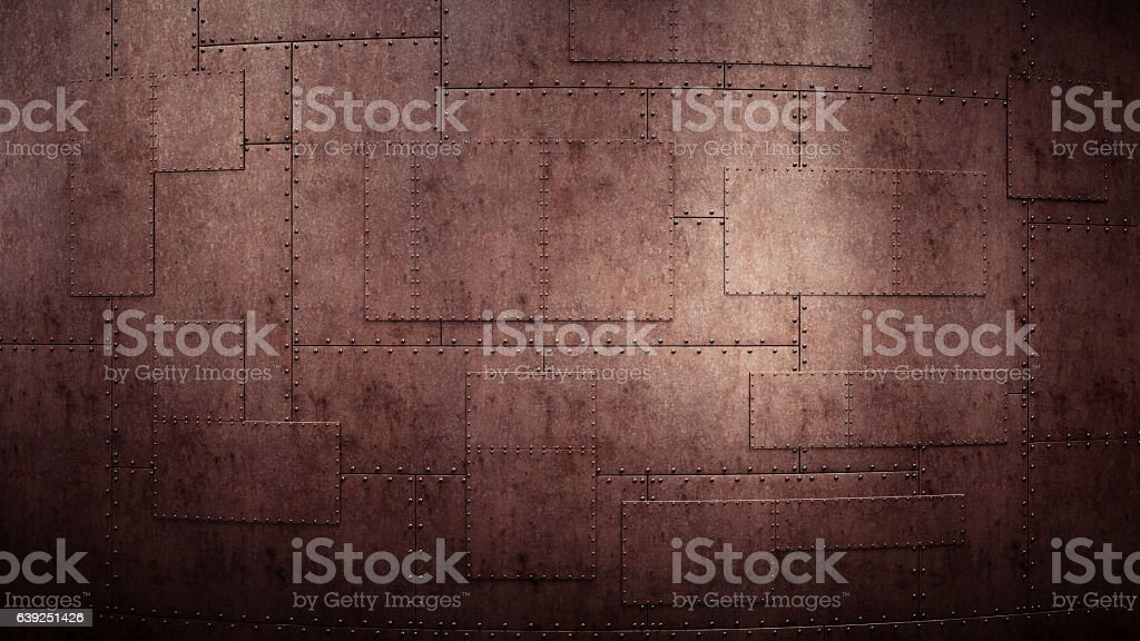Industrial Wall With Heavy Rugged Metallic Plates stock photo