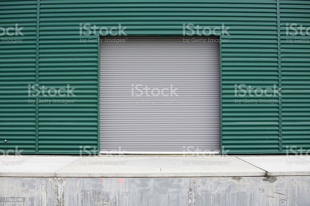 Industrial warehouse corrugated metal wall backgrounds, textures and patterns stock photo