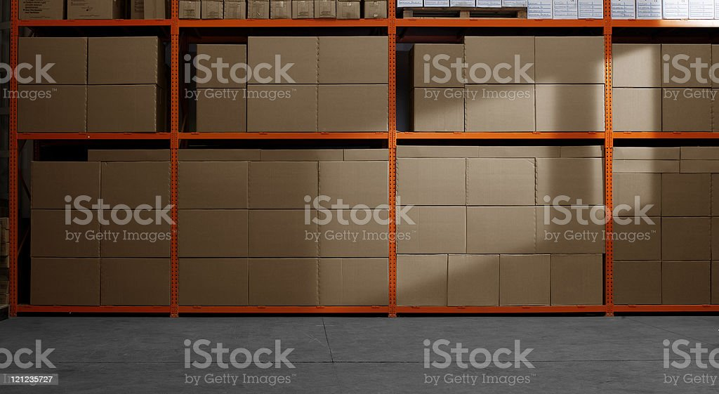 Shelves and racks in distribution stock photo