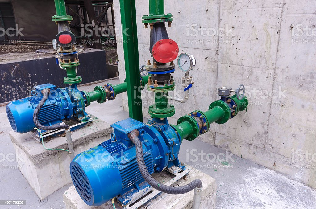 Industrial water pump stock photo