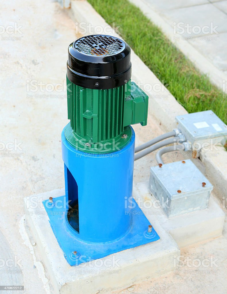Industrial water pump station stock photo