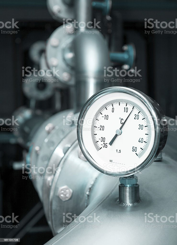 Industrial water temperature meter royalty-free stock photo