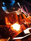 Industrial welding work.