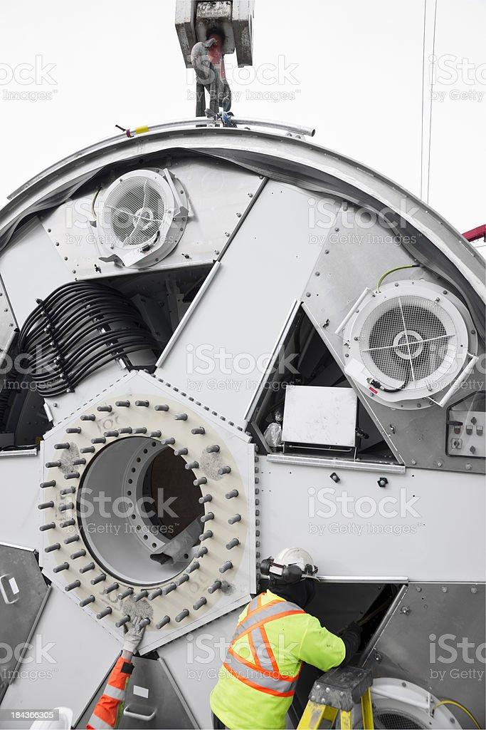 Industrial wind turbine component. stock photo