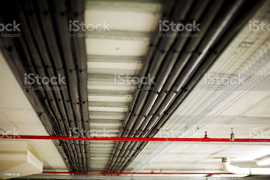 Industrial wiring conduits stock photo