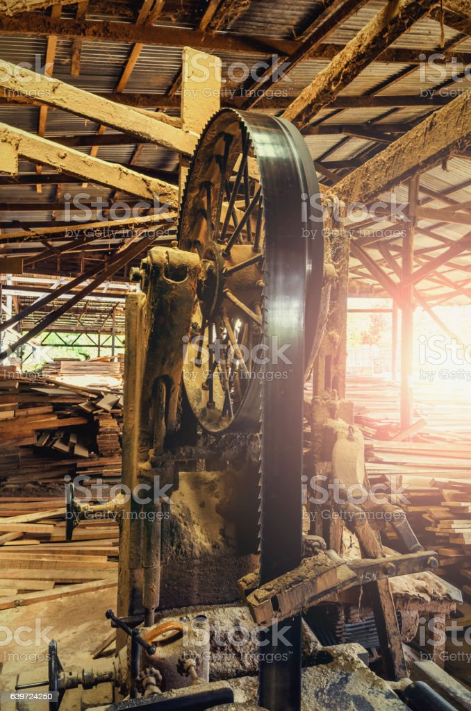 industrial wood production factory  band saw sawmill stock photo