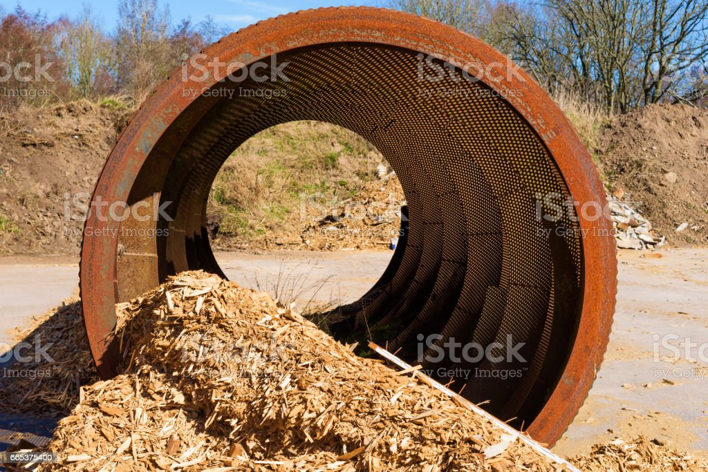Industrial woodchip sifter stock photo