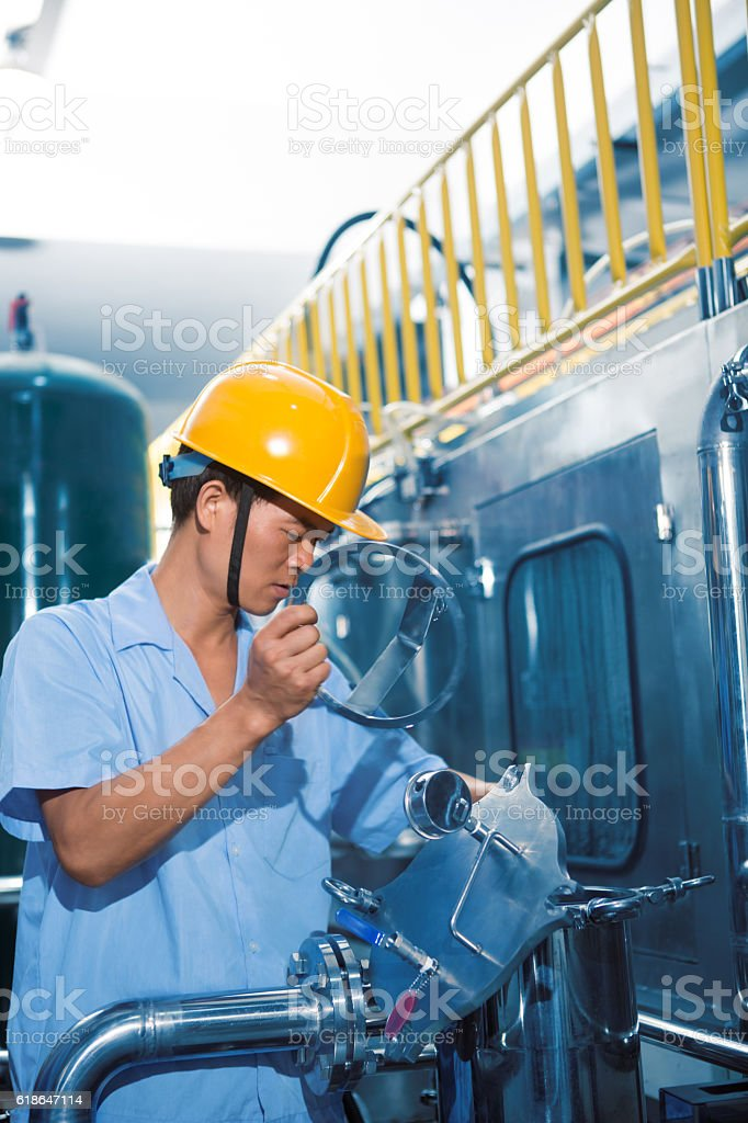 Industrial Worker At Industry Site stock photo